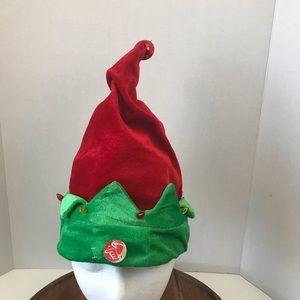 DanDee ELF Christmas Hat Jingle Bell on top Red Gr